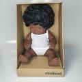 Baby Síndrome de Down niña africana con ropa interior (38 cm)