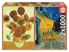 Educa Puzzle 2x1000 piezas. Los girasoles + Terraza de café por la noche (Vincent Van Gogh)