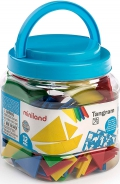 Bote con 12 tangram de plástico (84 piezas)