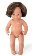 Baby Síndrome Down caucásico niña con pelo (38 cm)