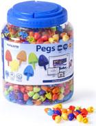 Pegs. Bote 1300 pinchos 15mm Colores fluorescentes para mosaico