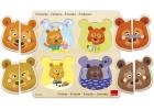 Puzzle de madera las emociones oso 8 piezas con pivotes