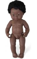 Baby Síndrome de Down africano niño con pelo (38cm)